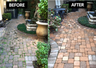 before and after courtyard pavers