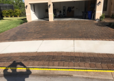 Cleaned, sanded, and sealed this Paver driveway in Wimauma protecting it from UV Ray damage. 11