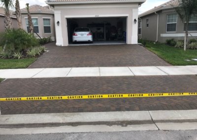 Cleaned, sanded, and sealed this Paver driveway in Wimauma protecting it from UV Ray damage. 3