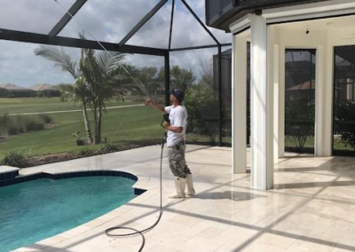 Travertine patio cleaned,sanded, and sealed adding a non slip additive 5