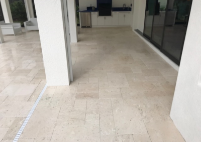 Travertine patio cleaned,sanded, and sealed adding a non slip additive 8